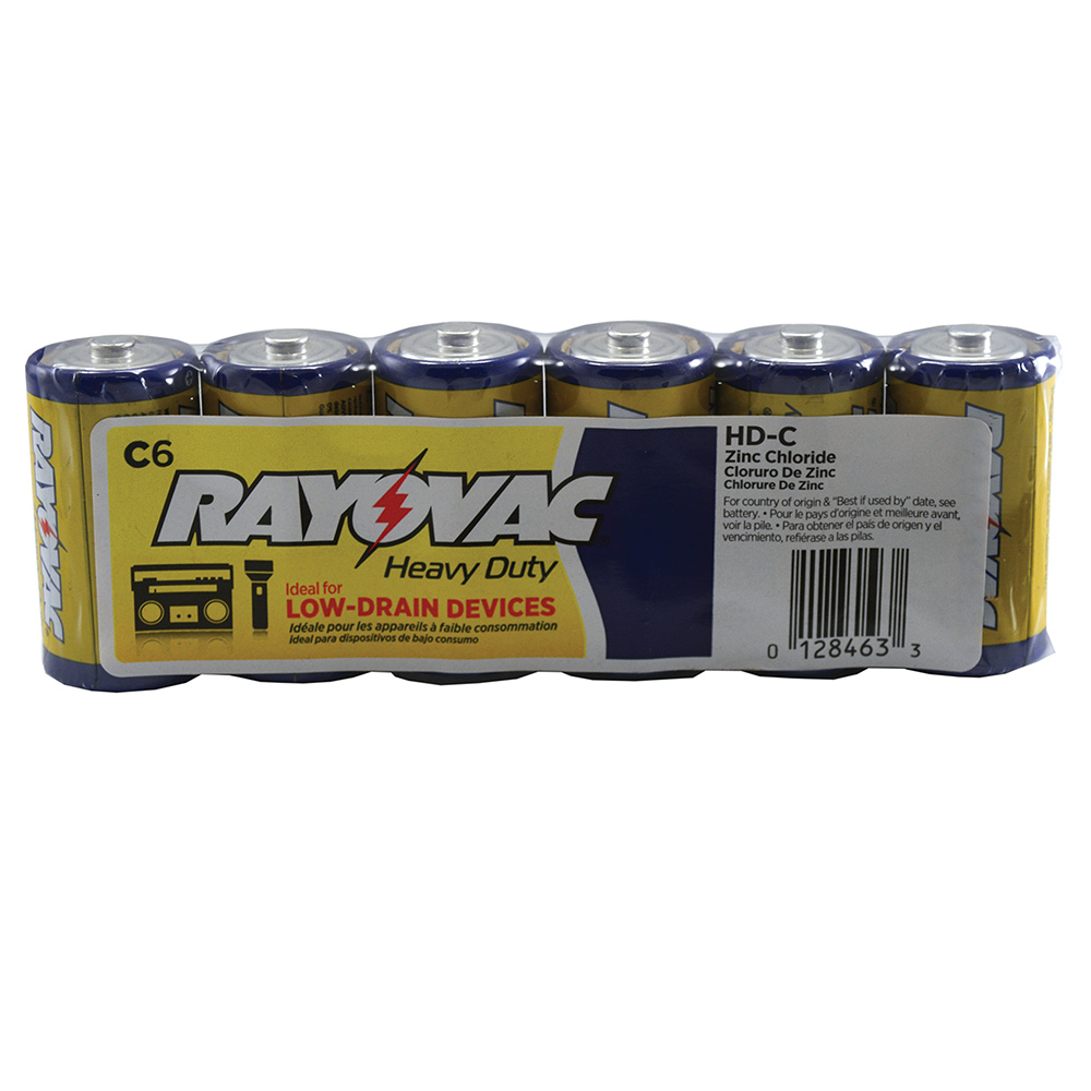 Pack 6, Rayovac Heavy Duty Industrial Batteries, C Size,PartNo F20006 JonesSteph