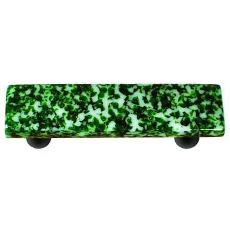 Granite Light Post - Hot Knobs HK8053-PB Granite Light Metallic Green & White Rectangle Glass Cabinet Pull - Black Post