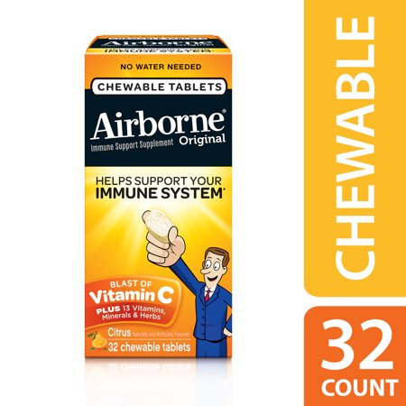 Airborne Chewable Vitamin C Tablets, Citrus, 1000mg - 32 Chewable Tablets