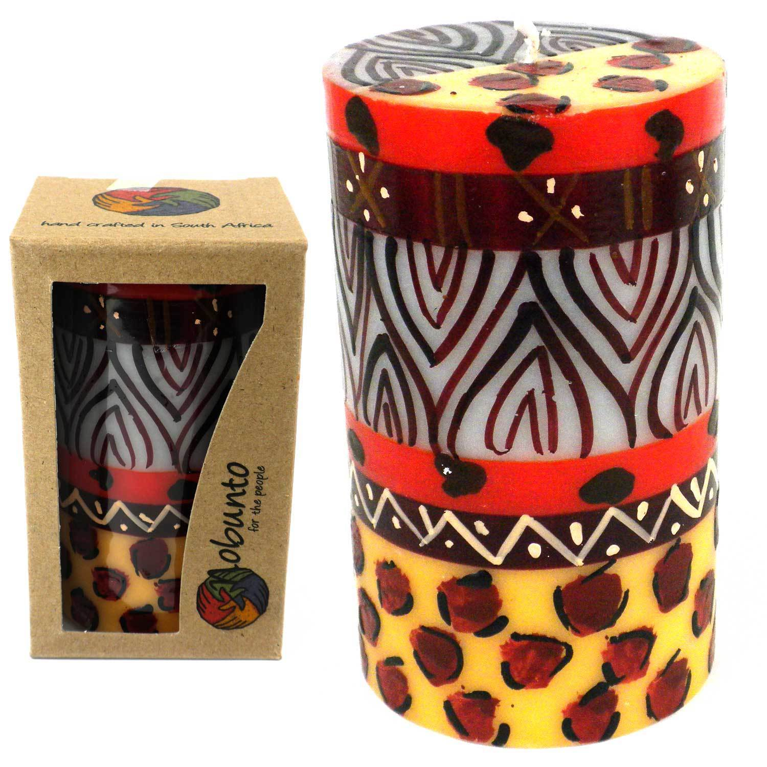 Global Crafts Single Boxed Hand-painted Pillar Candle with Uzima Design  , Handmade in South Africa