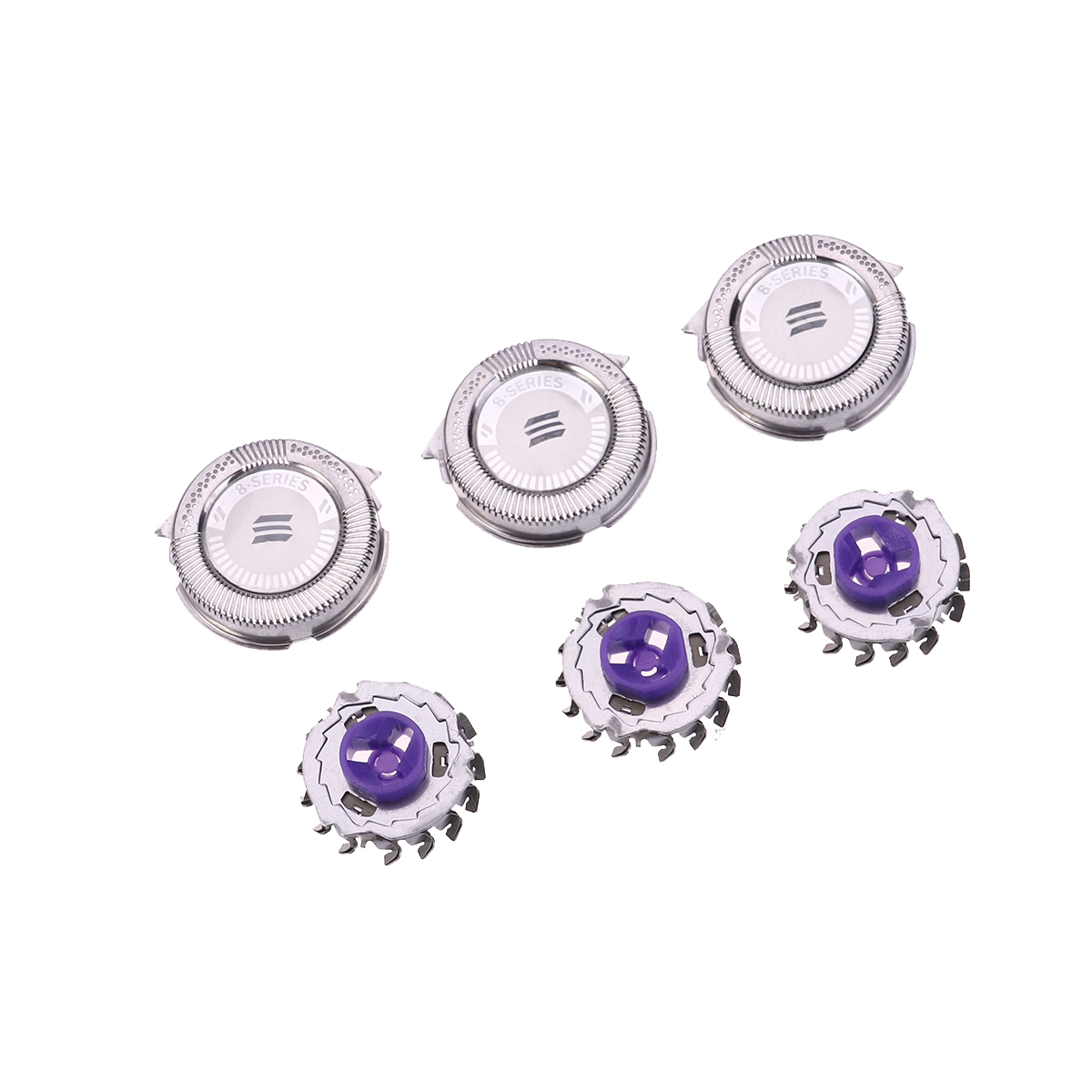 Replacement Heads for Philips Norelco HQ8 / HQ8894 / HQ7160 Shavers 3pcs (Silver)