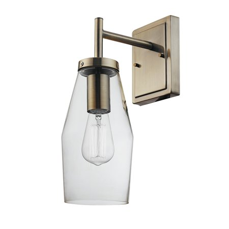 Globe Electric Blake 1-Light Antique Brass Wall Sconce with Clear Glass Shade, 51301 ()
