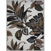 Antigua Ottoman in Royal Oak-Fabric:Black & Brown Leaves