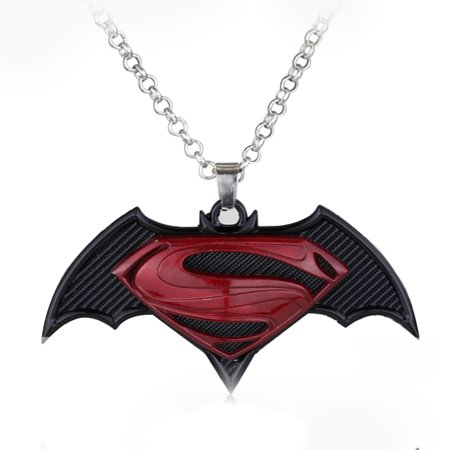 Superman With Batman Necklace Style Pendant Red S Symbol Tarnish