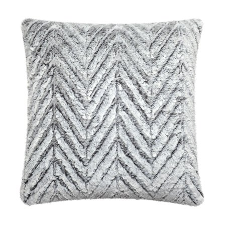 Better Homes & Gardens Feather Filled Chevron Textured Faux Fur Decorative Throw Pillow, 20