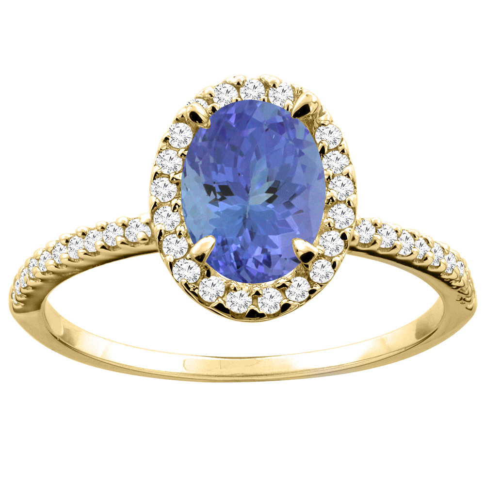 14K Yellow Gold Natural Tanzanite Ring Oval 8x6mm Diamond Accent, size 5.5 by Gabriella Gold