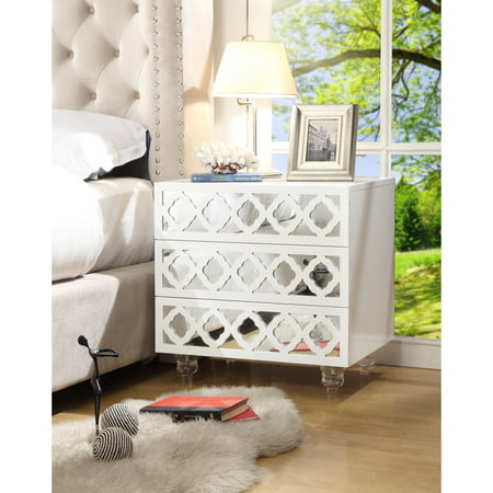 Randall White Glossy Mirrored Nightstand - 3-drawer | Side Table | Modern | Lucite Acrylic Legs | by Inspired Home
