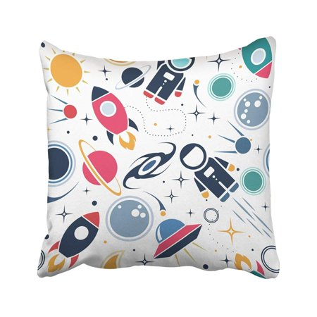 BPBOP White Flat Space Cute With Astronaut Spaceship Rocket Moon Black Hole Stars In Outer Dream Pillowcase Cover 18x18 (Flat Back No Holes)
