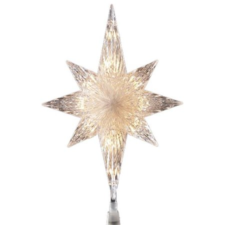 Lighted Clear Faceted Bethlehem Star Christmas Tree Topper - Clear Lights - NorthLight 11 In. Lighted Clear Faceted Bethlehem Star Christmas