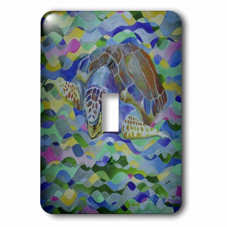 3dRose Loggerhead Turtle - world turtle day, loggerhead sea turtle, caretta caretta, loggerhead, turtle - Single Toggle Switch (lsp_46776_1) (Single Sea Turtle)