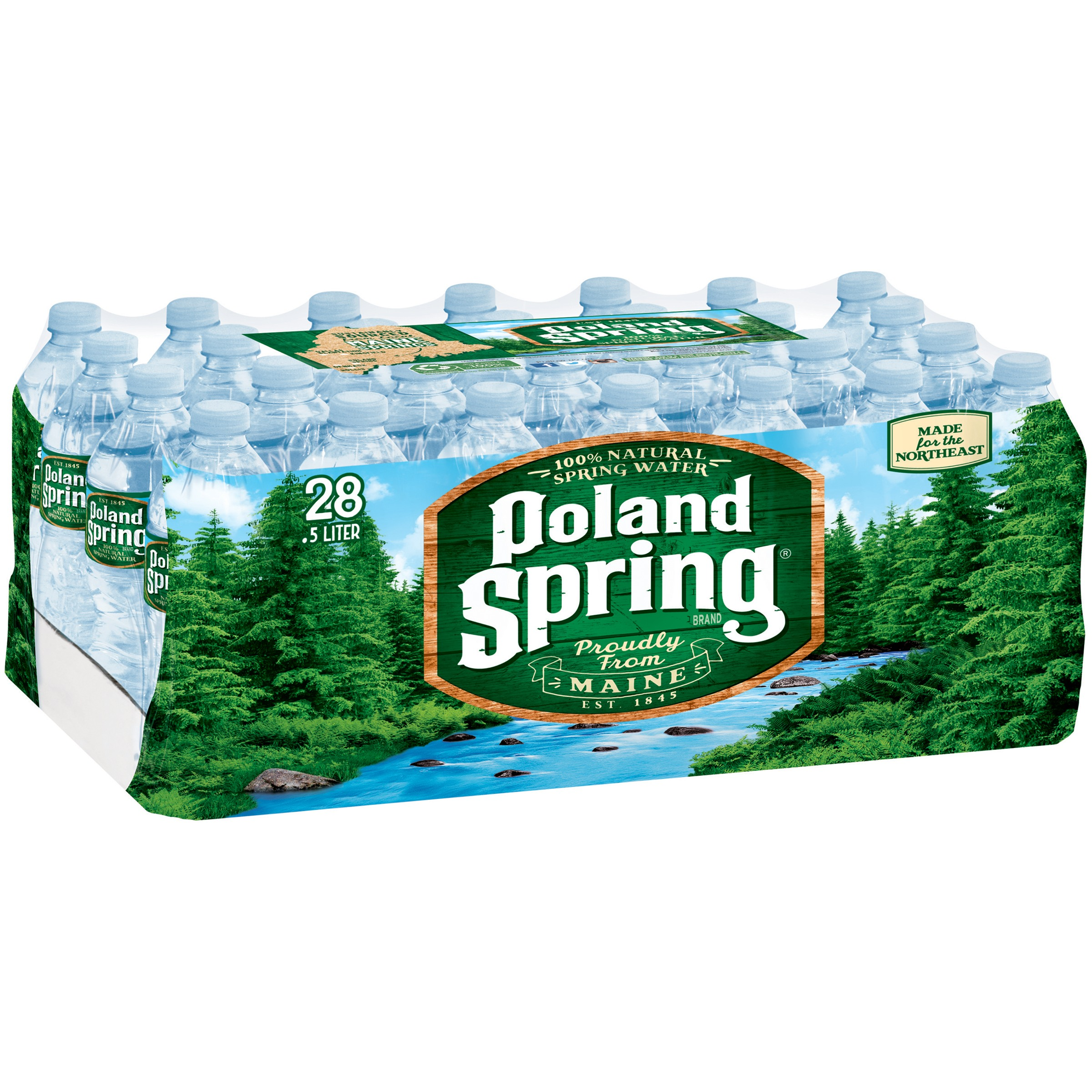 POLAND SPRING 100% Natural Spring Water 28-16.9 fl. oz. Bottles