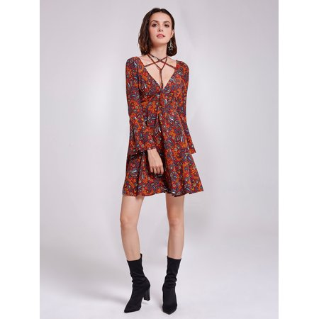 Alisa Pan Women's Sexy V-Neck Long Bell Sleeve Fit and Flare Cocktail Party Boho Print Summer Dresses for Women 05757