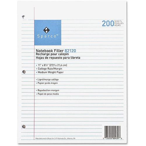 Sparco Notebook Filler Paper