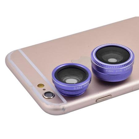 3-in-1 185 Degrees Fisheye 0.65X Wide Angle 10X Macro HD Phone Lens Kit - Purple Leis