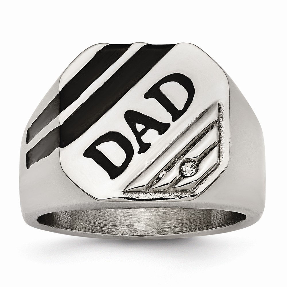 16.8mm Stainless Steel Polished Black Enameled CZ Signet Dad Ring - Ring Size Options:  10 11 12 9