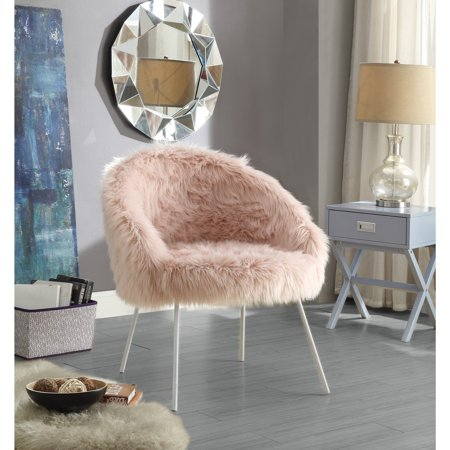 Inspired Home Norah Faux Fur Accent Chair Walmart Com
