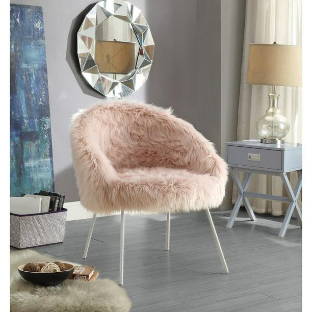 Inspired Home Norah Faux Fur Accent Chair - Walmart.com - Walmart.com