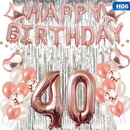 30th Anniversary Decorations (SHOPFIVE 1 Set Rose Gold Happy Birthday Letter Foil Balloons+Number Helium Balloon 13Th 16Th 30Th 40Th 50Th 60Th Anniversary Celebration Party)