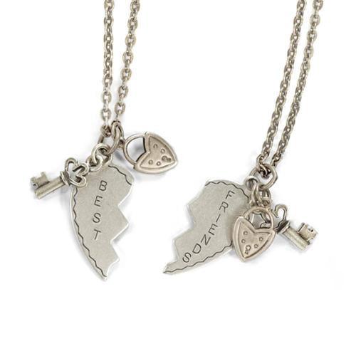 Sweet Romance  Best Friends Heart Puzzle Charm Necklace Set