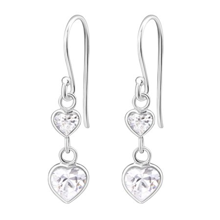Double Heart Dangle Earrings (Hypoallergenic Sterling Silver Double Heart CZ Dangle Earrings for Kids (Nickel)