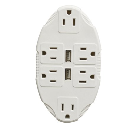 Usb outlet multiplier includes 6 sockets and 2 usb ports - Electrical outlet multiplier ...