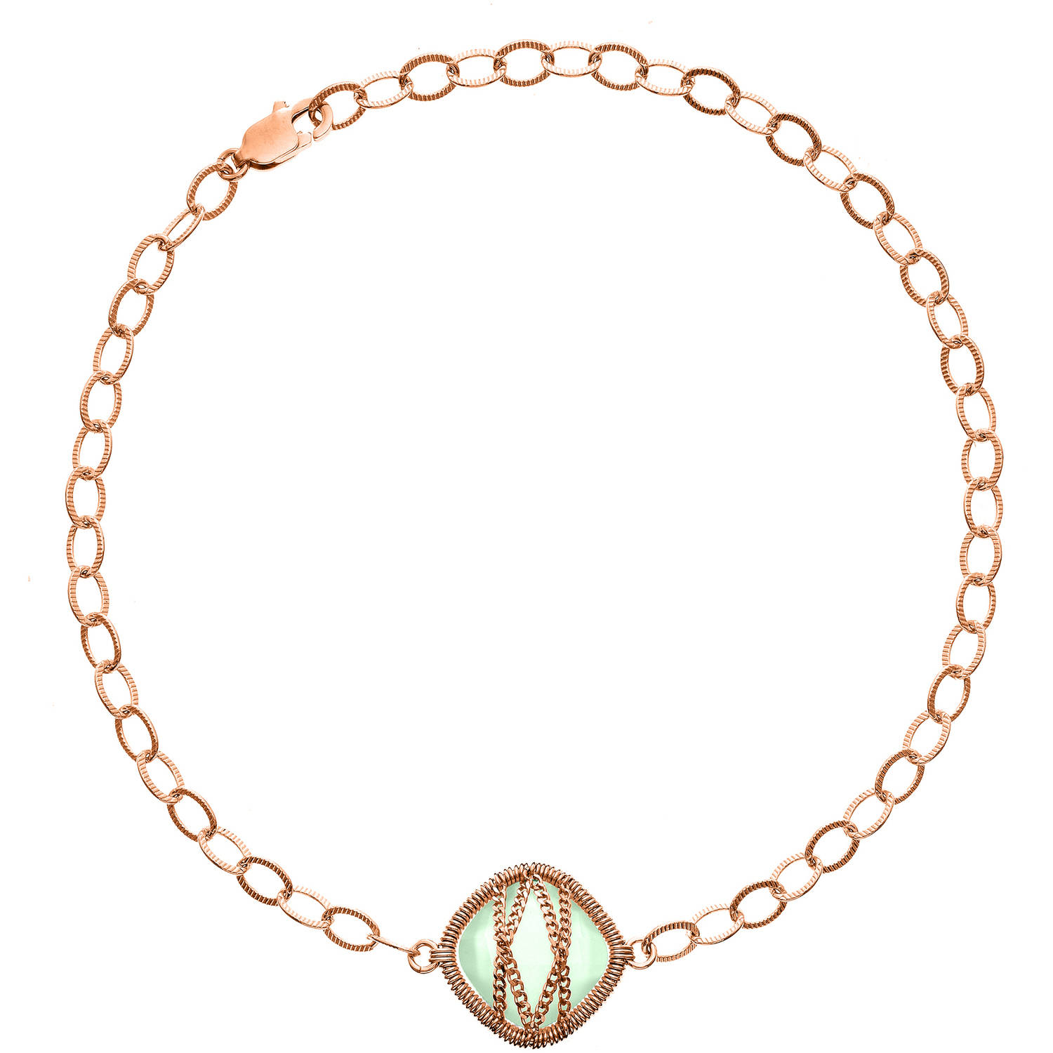 5th & Main Rose Gold over Sterling Silver Hand-Wrapped Single-Squared Chalcedony Stone Bracelet