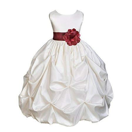 Ekidsbridal Ivory Satin Taffeta Pick-Up Bubble Flower Girl Dresses Junior Toddler Formal Special Occasions Wedding Pageant Dresses Ball Gown Dance Recital Reception Birthday Girl Party 301S - Taffeta Party Dress