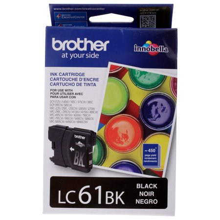 Brother Genuine Standard Yield Black Ink Cartridge, LC61BKW, Replacement Black Ink, Page Yield Up To 450 Pages, LC61 (Lc51cl Brother Printer Ink)