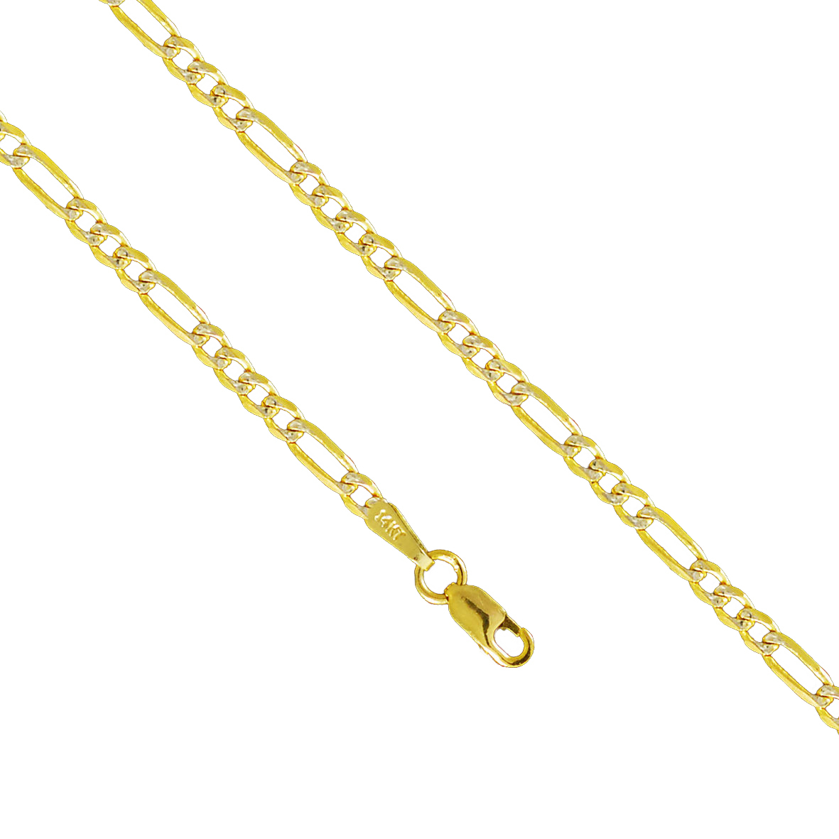 14K Yellow Gold 2.4mm Figaro Diamond Cut Pave Necklace Link Lobster Clasp (24 Inches) by Paradise Jewelers