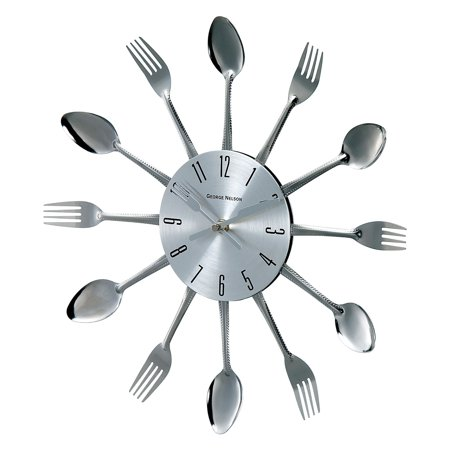 Verichron Metal Fork and Spoon 14.75 in. Wall Clock