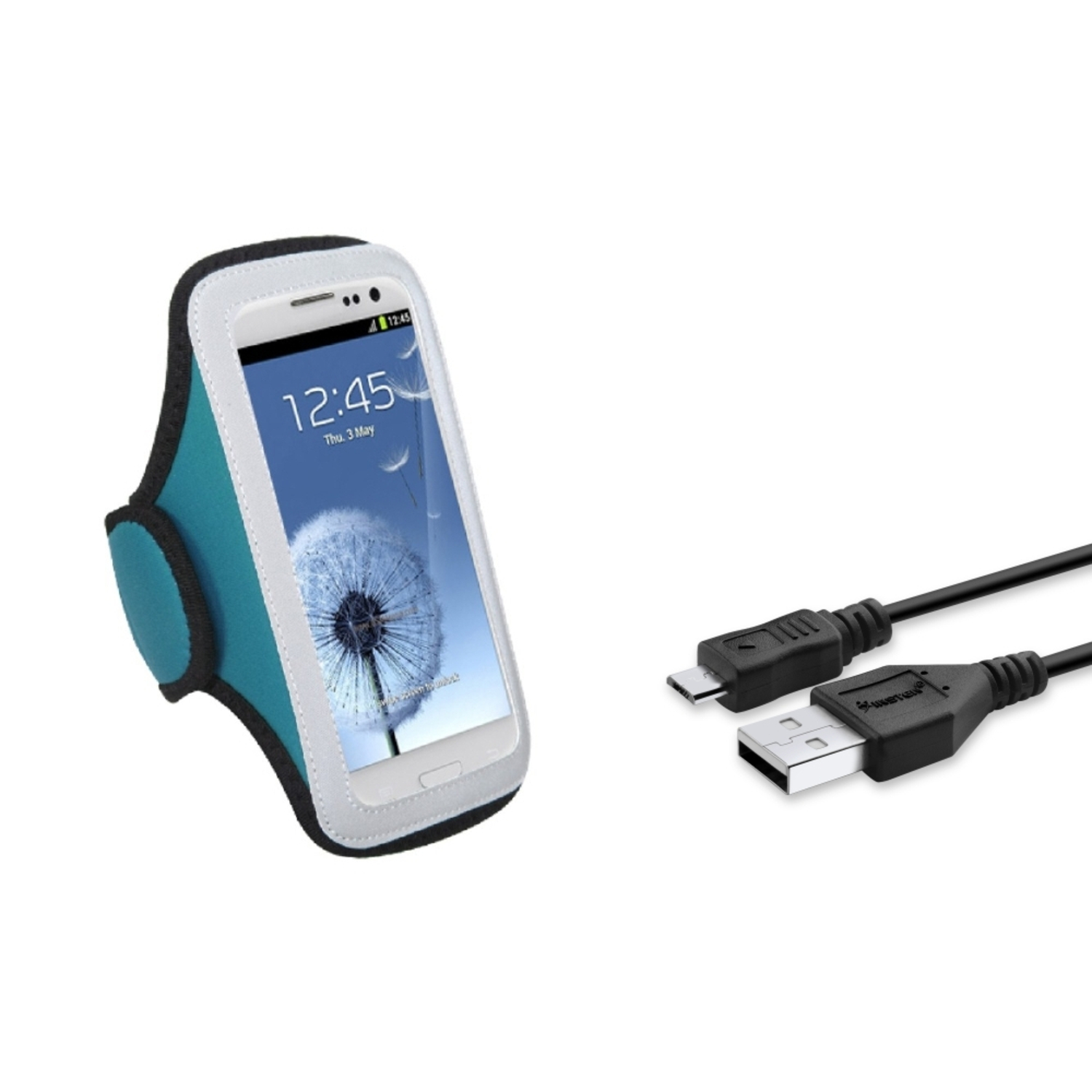 Insten Blue GYM Armband Protector Case+USB Data Cable For Samsung Galaxy S III S3 i9300