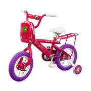 "John Deere 12"" Girls Bike Kids Bike with Training Wheels Pink"