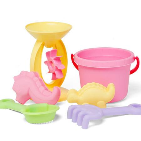 Mosunx 6Pcs Sand Kids Beach Toys Castle Bucket Spade Shovel Rake Water Tools For Kids