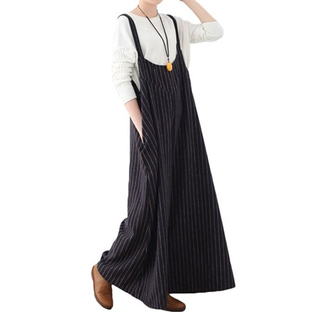 Women's Loose Striped Wide Leg Jumpsuits Long Pants Rompers Overalls](Striped Overalls)