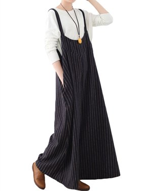 Women's Loose Striped Wide Leg Jumpsuits Long Pants Rompers Overalls