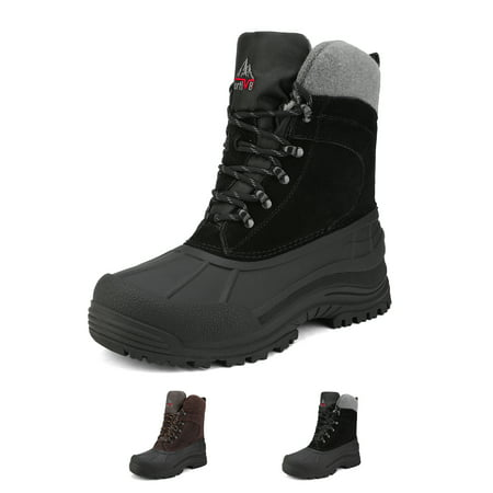 NORTIV 8 Mens Winter Insulated Waterproof Snow boots Rugged Winter Outdoor Hiking Boots TERREX-1M BLACK Size 13