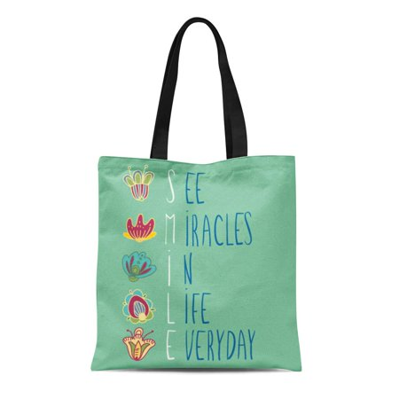SIDONKU Canvas Tote Bag Cute Inspirational Words See Miracles in Life Everyday Colorful Durable Reusable Shopping Shoulder Grocery Bag (Miracle Shopping)