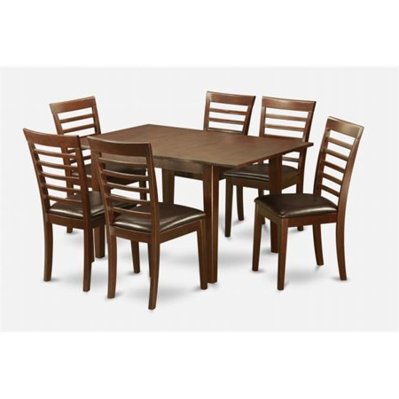 - East West Furniture MILA7-MAH-LC Milan 7PC Set with Rectangular Table featured 12 in butterfly leaf and 6 Leathr seat chairs