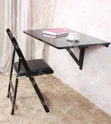 Haotian Folding Wall-mounted Drop-leaf Table, Kitchen Dining Table, Wooden Children Desk, (FWT02-SCH, Black)