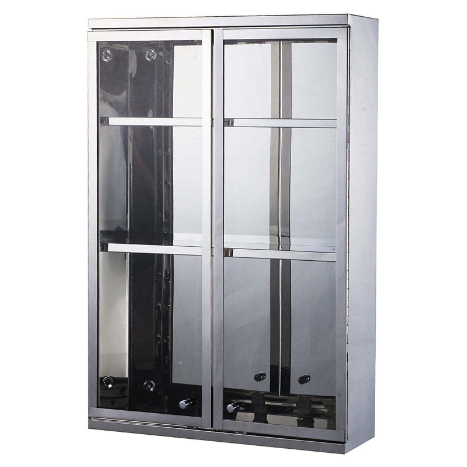 HomCom Stainless Steel Double Door Display Wall Cabinet