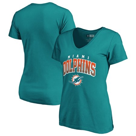 Women's Fanatics Branded Aqua Miami Dolphins Faded Arch V-Neck T-Shirt (Miami Dolphins Tee)