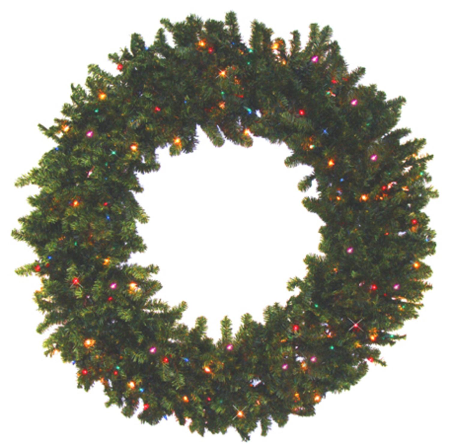 "30"" Battery Operated Canadian Pine Artificial Christmas Wreath - Multi LED Lights"