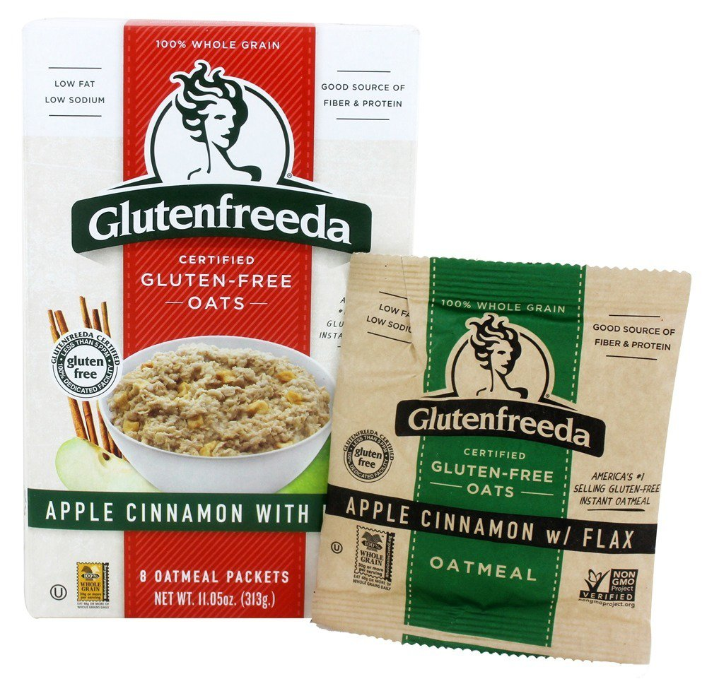 Glutenfreeda - Instant Oatmeal Apple Cinnamon with Flax 8 Packets - 11.5 oz (pack of 4)