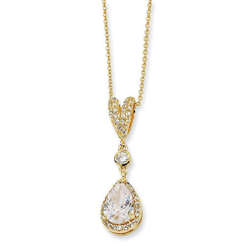 Jewelryweb Gold-plated Sterling Silver Pear CZ Necklace - 18 Inch