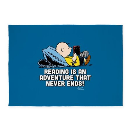 CafePress - Charlie Brown Reading Is An Adven - 5'x7'Area Rug - Reading Rug