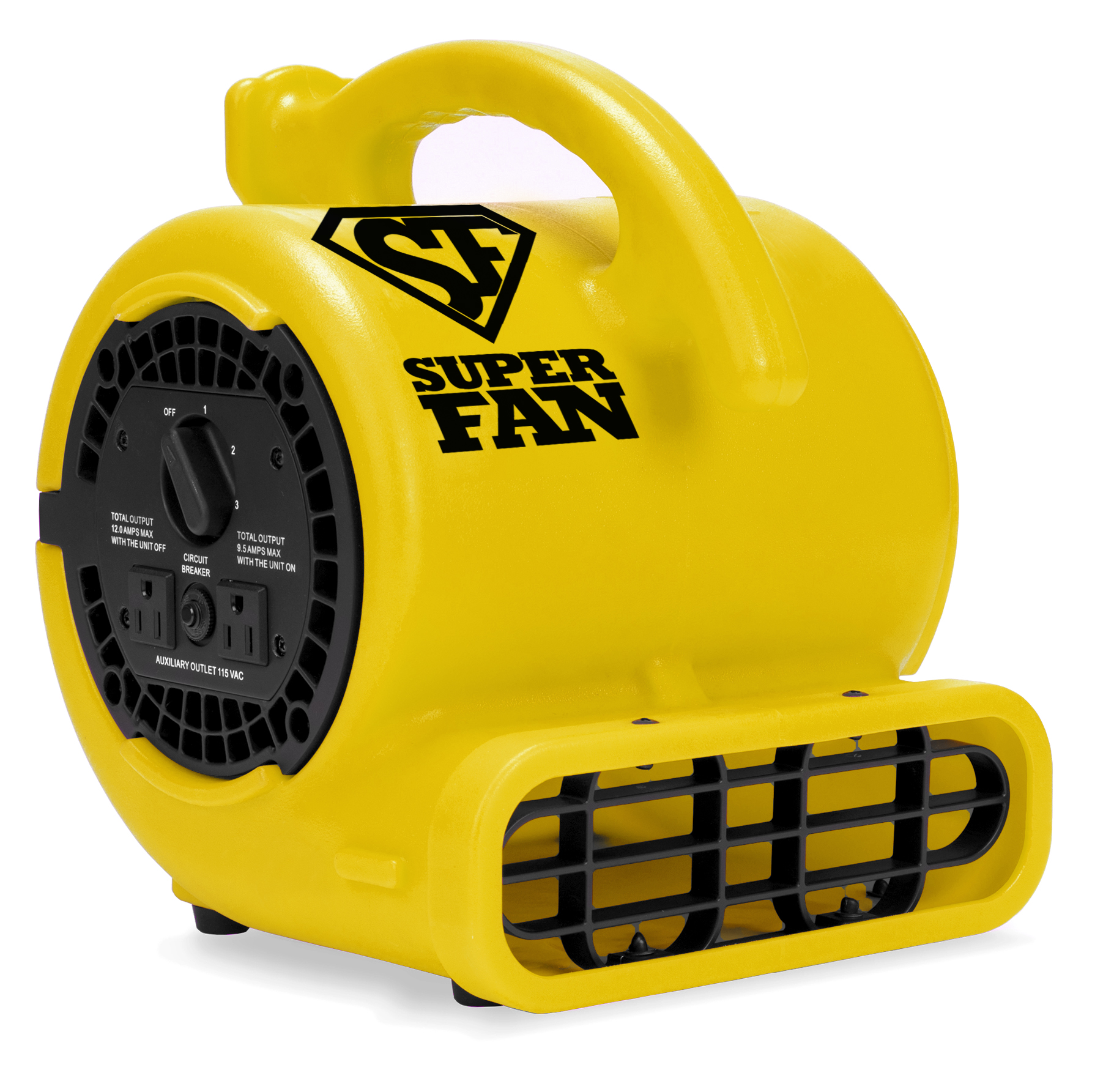 Soleaire Super Fan Home Personal Portable High Velocity Floor Fan, Yellow