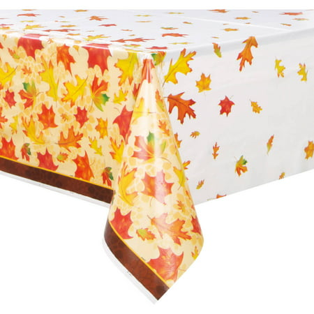 Fall Leaves Plastic Tablecloth, 84 x 54 in, 1ct
