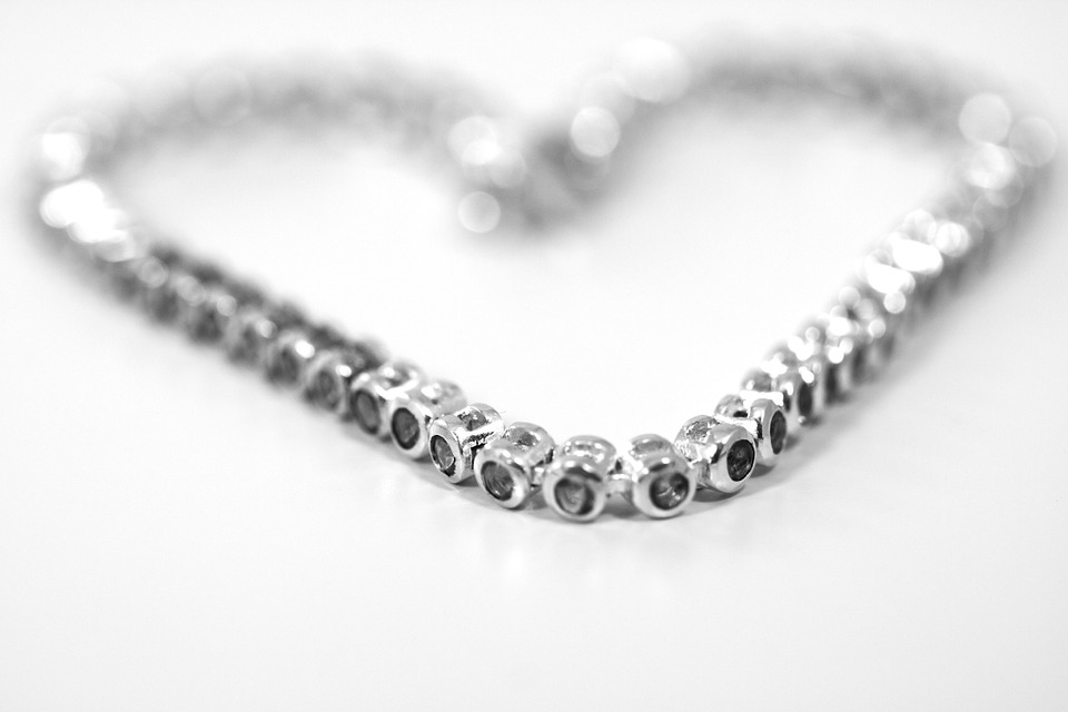 LAMINATED POSTER Diamond Silver Jewellery Necklace Heart Poster Print 24 x 36 by
