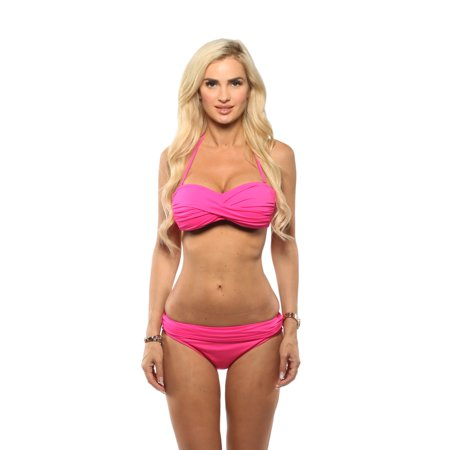 La Blanca Women's Sweetheart Mio Twist Front Bandeau Top with Banded Bottom in Bright