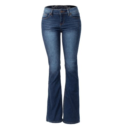 Low Rise Bootcut Womens Jeans - Made by Olivia Women's Sexy Stylish Flare Bell Bottom Slim Bootcut Jean Dark Denim 3